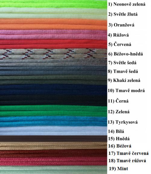 Barva padákové šňůry